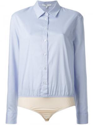 Боди-рубашка Tibi. Цвет: синий