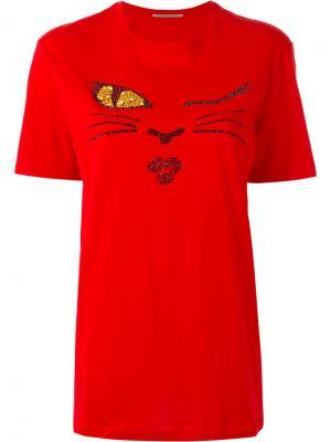 Crystal face T-shirt Ermanno Scervino. Цвет: красный