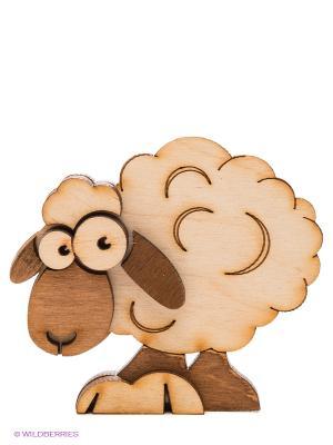 Магнит деревянный Овечка Kawaii Factory. Цвет: коричневый, бежевый