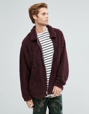 ASOS Свободная куртка Харрингтон из искусственной цигейки. Цвет: фиолетовый