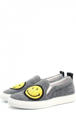 Текстильные слипоны Smile с аппликациями Joshua Sanders. Цвет: серый