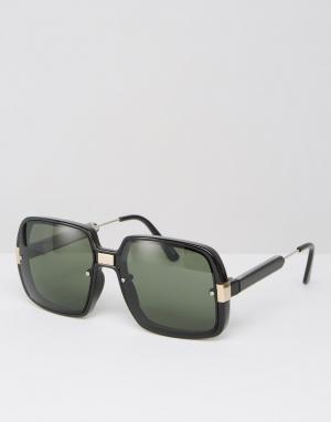 Spitfire Большие черные солнцезащитные очки в квадратной оправе. Цвет: черный