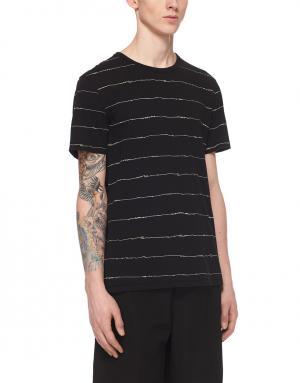 Хлопковая футболка T by Alexander Wang. Цвет: черный