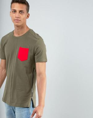 Loyalty & Faith Длинная футболка с карманом и молнией and. Цвет: зеленый