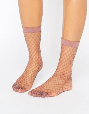 ASOS Сиреневые носки в крупную сетку. Цвет: фиолетовый