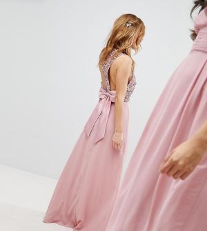 Maya Petite Платье макси с пайетками на лифе, вырезами и бантом спине Peti. Цвет: розовый