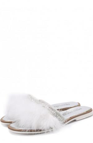 Кожаные шлепанцы с фактурной отделкой Monnalisa. Цвет: белый