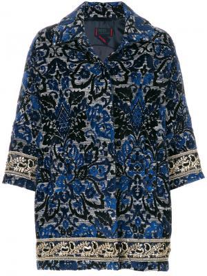 Пальто с цветочной вышивкой Femme By Michele Rossi. Цвет: синий
