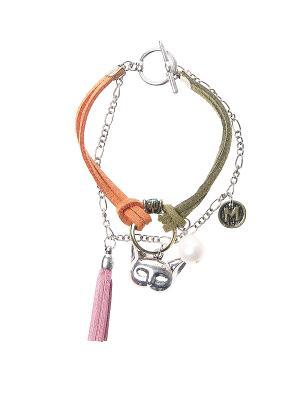 Браслет Happy Charms Family. Цвет: оранжевый, розовый, зеленый, серебристый