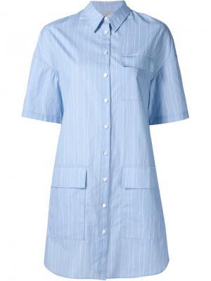 Полосатое платье-рубашка с короткими рукавами Grey Jason Wu. Цвет: синий