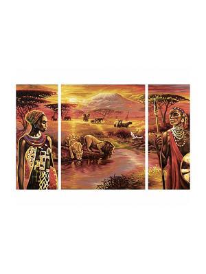 Триптих Килиманджаро, 50*80 см, 6/6 Schipper. Цвет: оранжевый