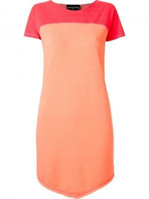 Платье-футболка с контрастной вставкой Skinbiquini. Цвет: жёлтый и оранжевый