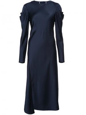 Платье с драпировкой на рукавах Tibi. Цвет: синий
