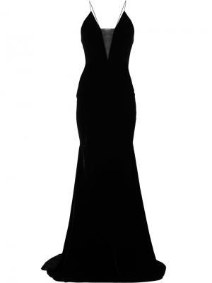 Длинное платье с полупрозрачной вставкой Maddox Alex Perry. Цвет: чёрный