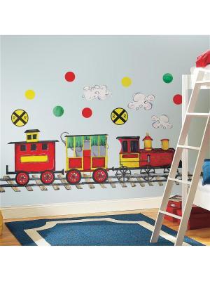Наклейки для декора - Железная дорога ROOMMATES. Цвет: белый, голубой, желтый, зеленый, красный, оранжевый, серый, синий, черный
