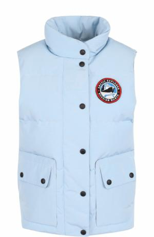 Пуховой стеганый жилет с логотипом бренда Arctic Explorer. Цвет: голубой