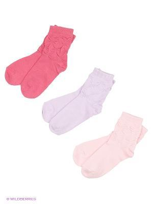 Носки, 3 пары Гамма. Цвет: сиреневый, розовый
