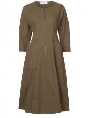 Платье А-силуэта с застежкой-молнией Apiece Apart. Цвет: зелёный