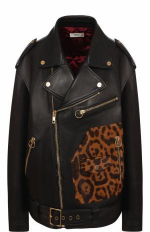 Кожаная куртка свободного кроя с косой молнией Bally. Цвет: черный
