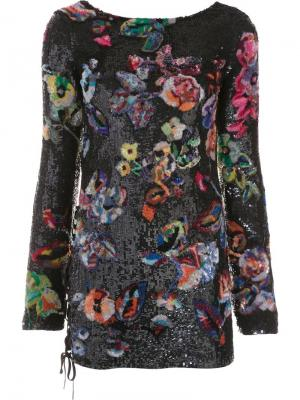 Платье Flower Sequin Anthony Vaccarello. Цвет: синий