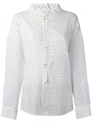 Рубашка в горошек с высокой горловиной  Ys Y's. Цвет: белый