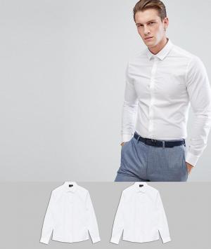 ASOS Набор из 2 рубашек скинни , СКИДКА. Цвет: белый