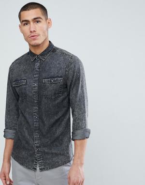 Only & Sons Узкая джинсовая рубашка с эффектом кислотной стирки. Цвет: серый