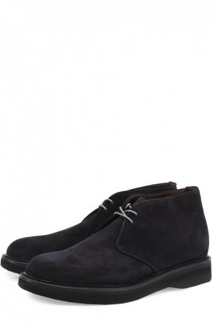 Замшевые ботинки на шнуровке Green George. Цвет: темно-синий