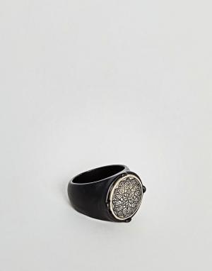 Icon Brand Черное матовое кольцо с цветочным рисунком. Цвет: черный