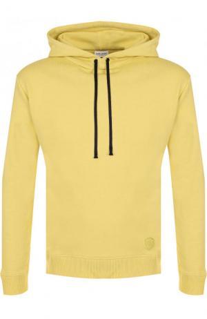 Однотонное хлопковое худи Saint Laurent. Цвет: желтый