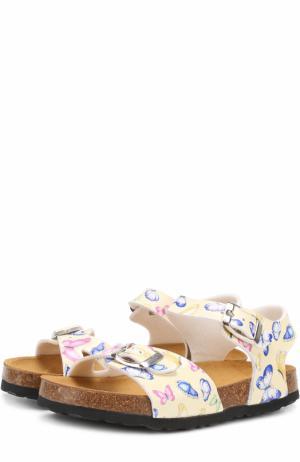 Сандалии с принтом и ремешками Monnalisa. Цвет: желтый