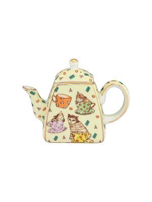 Сувенир-чайник Кошки в чашках Elan Gallery. Цвет: желтый, светло-зеленый, коричневый, оранжевый