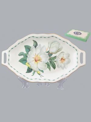 Блюдо для нарезки Белый шиповник Elan Gallery. Цвет: белый, зеленый