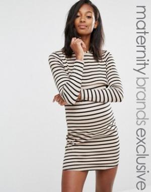 Missguided Maternity Двуслойное платье в полоску для беременных. Цвет: мульти