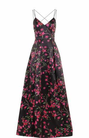 Приталенное платье-макси с открытой спиной и цветочным принтом Alice + Olivia. Цвет: черный