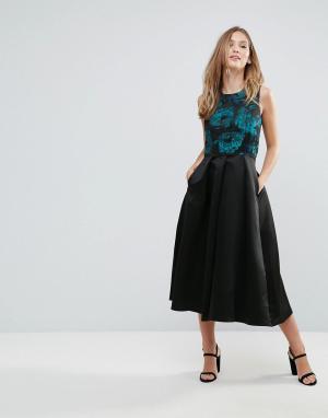 Closet London Короткое приталенное платье с принтом. Цвет: мульти