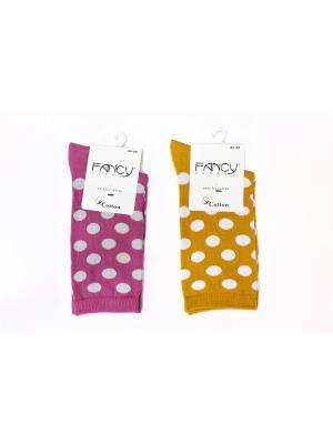 Женские носки 2 пары Fancy socks by Oztas. Цвет: малиновый, горчичный