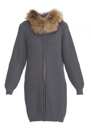 Кардиган из шерсти с отделкой меха енота 177119 Fashion Cashmere. Цвет: серый