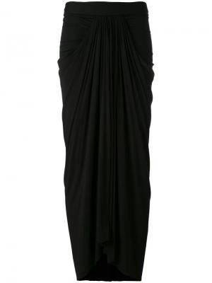 Длинная драпированная юбка Rick Owens Lilies. Цвет: чёрный