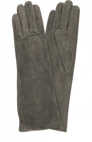 Удлиненные замшевые перчатки Agnelle. Цвет: темно-серый