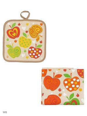 Набор кухонный Яблочки GrandStyle. Цвет: серый