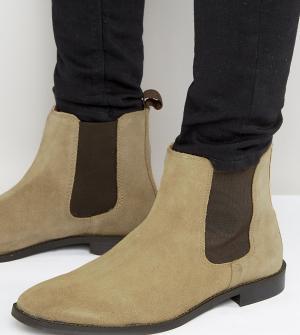 ASOS Бежевые замшевые ботинки челси для широкой стопы. Цвет: светло-бежевый