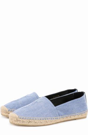 Эспадрильи из денима с логотипом бренда Saint Laurent. Цвет: голубой