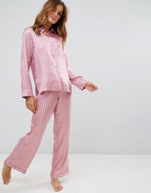 Boux Avenue Атласный пижамный комплект с рубашкой и штанами в полоску. Цвет: розовый