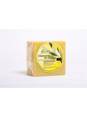 Натуральное оливковое мыло с ромашкой Rizes Crete. Цвет: желтый