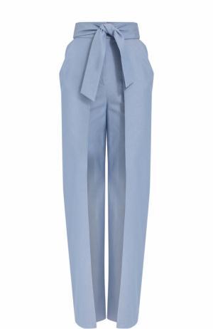 Хлопковые брюки с завышенной талией и поясом Vika Gazinskaya. Цвет: голубой