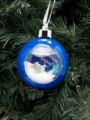 Елочный шар с рамкой 1шт Mister Christmas. Цвет: голубой