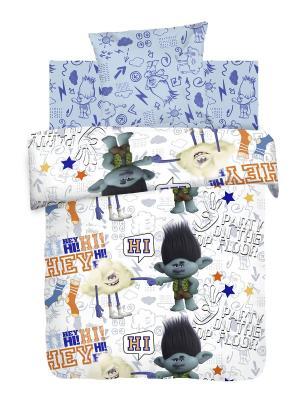 Постельное белье Trolls Тролли Цветан и Облачко, 1.5 Непоседа. Цвет: голубой, белый