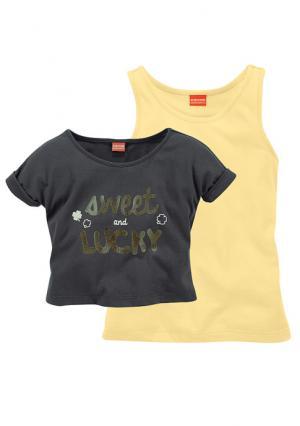 Комплект: кофточка + топ KIDOKI. Цвет: темно-серый/желтый