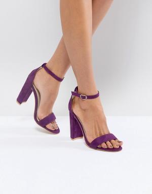 Glamorous Фиолетовые босоножки на каблуке. Цвет: фиолетовый